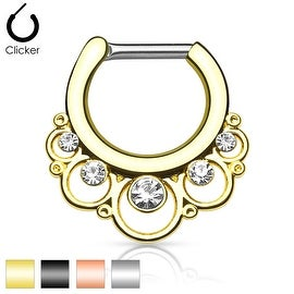 Floral Round with Gems IP 316L Surgical Steel Septum Clicker (Sold Ind.)