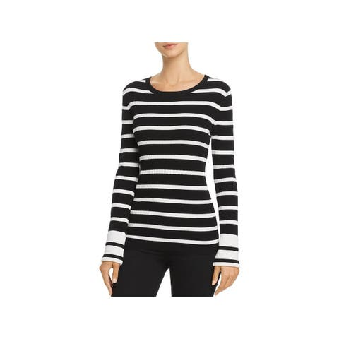 Theory Womens Prosecco Pullover Sweater Striped Ribbed Knit