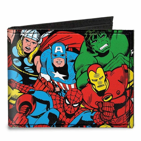 Marvel Comics Characters Stacked Logo Canvas Bi Fold Wallet One Size - One Size Fits most
