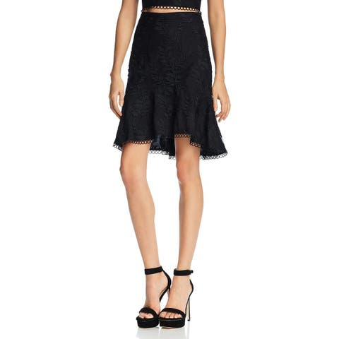 Lucy Paris Womens Flare Skirt Embroidered Hi-Low - M
