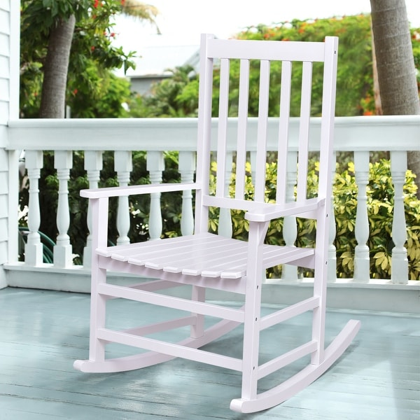 Shop Costway Solid Wood Rocking Chair Rocker Porch Indoor Outdoor