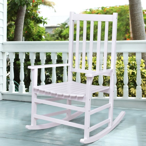 Costway Solid Wood Rocking Chair Rocker Porch Indoor Outdoor Patio Furniture White Single