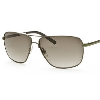 Perry Ellis Mens Metal Aviator Sunglasses Gunmetal Olive-PE24-2, Includes Perry Ellis Pouch, 100% UV Protection - gray