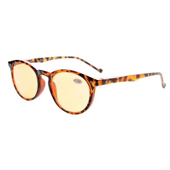 Eyekepper Round Computer Glasses Spring-Hinges Eyeglasses Torotise Orange Tinted Lenses+4.0