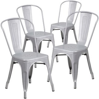 Link to 4 Pack Metal Indoor-Outdoor Stackable Chair - Restaurant Chair - Bistro Chair Similar Items in Patio Dining Chairs