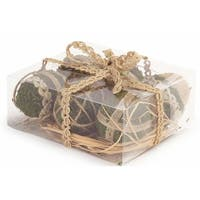 Pack of 6 Decorative Moss and Burlap Egg Ornaments - Brown