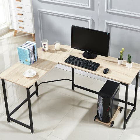 L-Shape Corner Workstation Table Steel Comouter Gaming Desk