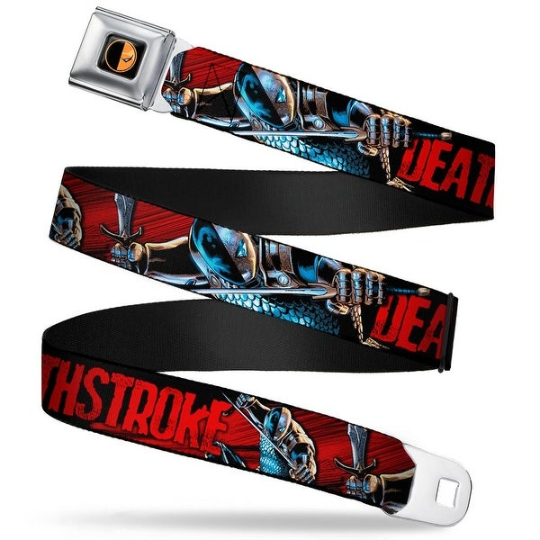 Deadstroke Logo Full Color Black Orange Red White New 52 Deathstroke Action Seatbelt Belt