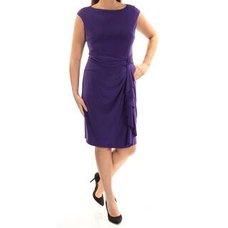 Womens Purple Cap Sleeve Above The Knee Sheath Casual Dress Size: 14