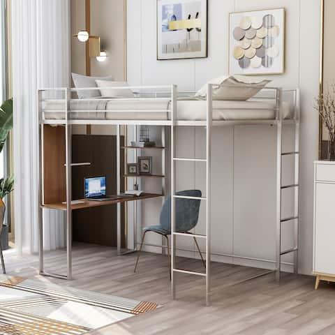 Nestfair Full Size Metal Loft Bed with 2 Shelves and Desk