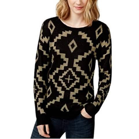 Rampage Juniors Shine Bow Pullover Sw Aztec Print Xs - Black & Gold - X-Small