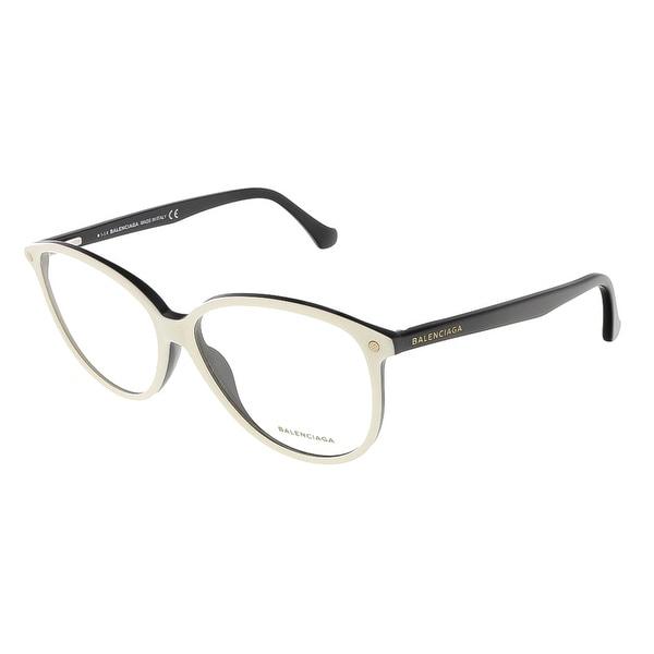 Balenciaga BA5018/V 024 White/Black Oval prescription-eyewear-frames - 56-13-140