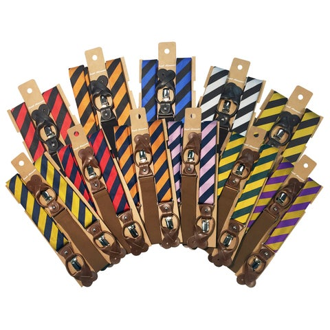 Jacob Alexander Men's College Stripe Y-Back Suspenders Braces Convertible Leather Ends and Clips
