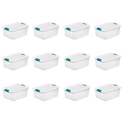 STERILITE 15 Quart Latching Boxes, Clear - Case of 12