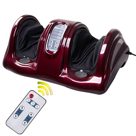 Costway Shiatsu Foot Massager Kneading and Rolling Leg Calf Ankle w/Remote Red Burgu New