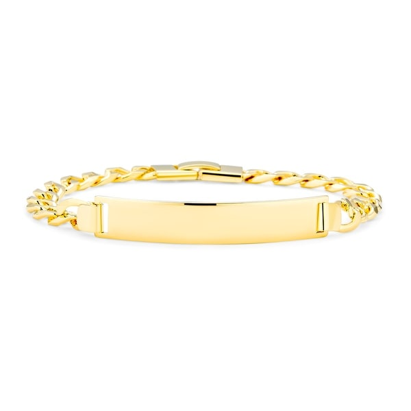 Cuban Curb Chain Identification ID Bracelet 180 Gauge Gold Plated - 8.5. Opens flyout.