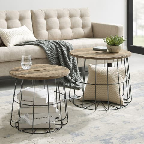 Berwick Metal and Wood Basket Nesting Tables