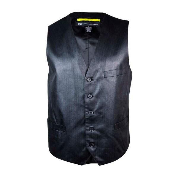 INC International Concepts Men's Striped Satin Slim-Fit Vest - Black - L