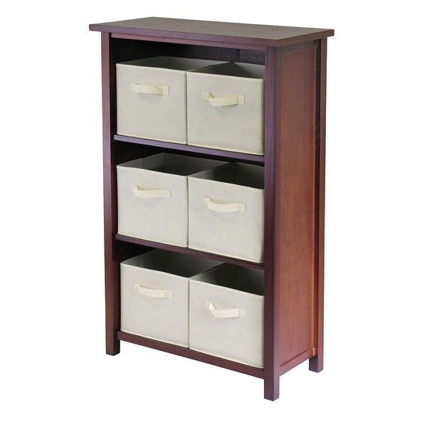 "42.75"" Brown and Beige Three Section Storage Shelf with Six Foldable Fabric Basket - N/A"