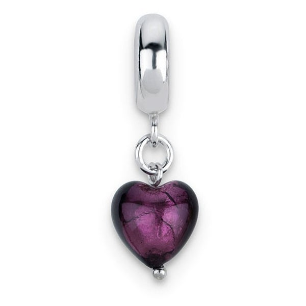 Italian Sterling Silver Reflections Purple Heart Dangle Bead (4mm Diameter Hole)