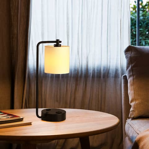 """Cedar Hill 19"""" Table Lamp with USB port and fabric shade - 19"""