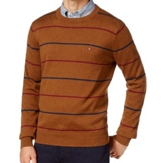 Tommy Hilfiger NEW Brown Bison Mens Size XS Crewneck Striped Sweater