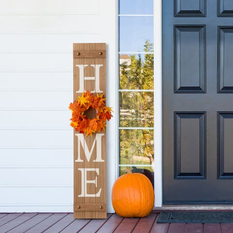 """Glitzhome 42""""H Wooden """"Home"""" Floral Porch Sign Set with 3 Changable Floral Wreaths"""