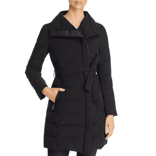 Tahari Women's Asymmetrical Belted Puffer Coat, Black. Opens flyout.