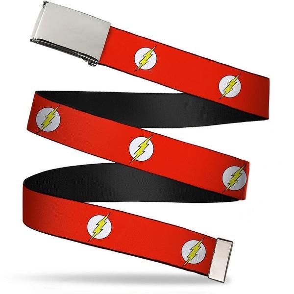 Blank Chrome Buckle Flash Logo Red White Yellow Webbing Web Belt