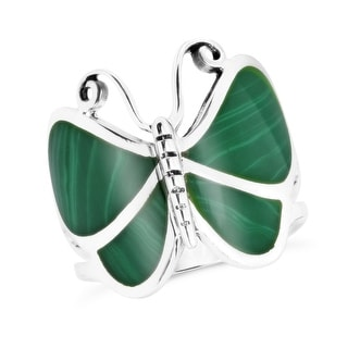 Handmade Awesome Stone Butterfly Sterling Silver Ring (Thailand)