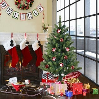 Costway 4 Ft Artificial Christmas Tree 308 Tips With Solid Metal Legs Green Full Tree