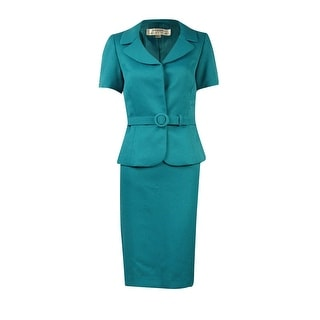 Tahari Women's Pique Short-Sleeve Belted Skirt Suit - 2