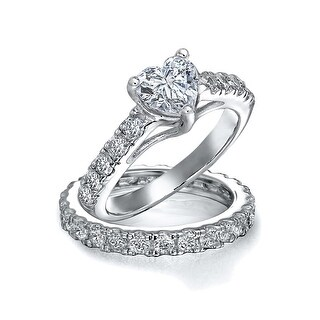 Bling Jewelry 925 Silver CZ Pave Heart Engagement Wedding Ring Bridal Set (3 options available)