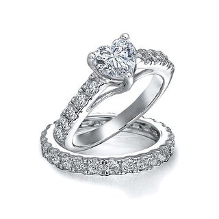 Bling Jewelry 925 Silver CZ Pave Heart Engagement Wedding Ring Bridal Set