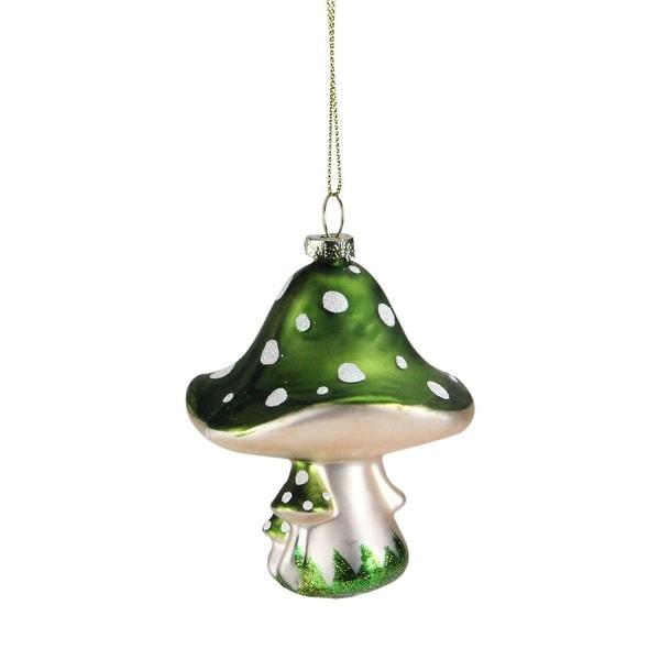 "3.5"" Green Fairytale Mushroom Glass Christmas Ornament"