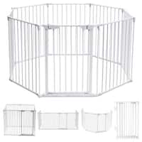 Costway 8 Panel Metal Gate Baby Pet Fence Safe Playpen Barrier Wall-mount Multifunction - White