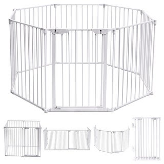 Costway 8 Panel Metal Gate Baby Pet Fence Safe Playpen Barrier Wall-mount Multifunction