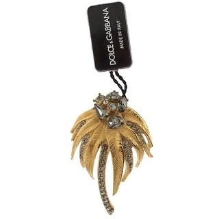 Dolce & Gabbana Gold Brass Gray Crystal Floral SICILY Brooch