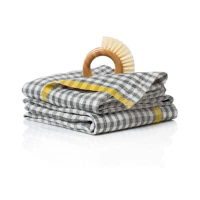 Gingham Grey/Dijon Towels 20x30 - Set of 2