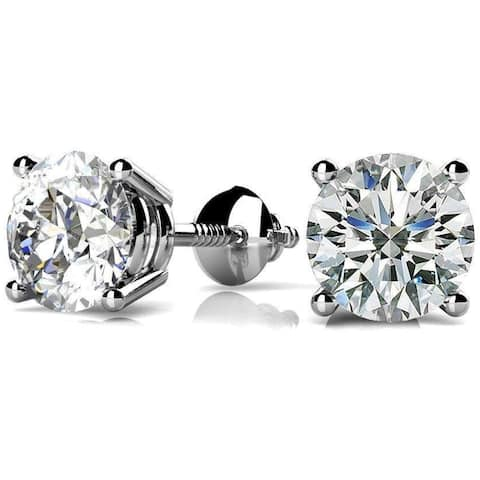 NYC Sterling Women Round Cubic Zirconia Screw Back Stud Earring 3 to 8 MM