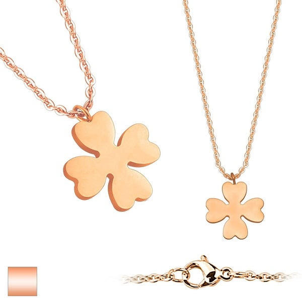 Four Leaf Clover Pendant on Rose Gold 316L Stainless Steel Pendant with Chain (1.5 mm) - 20 in