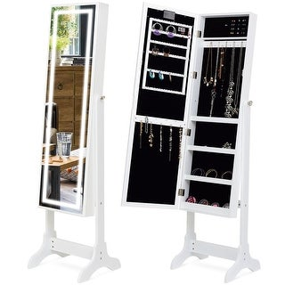Gymax Touch Screen LED Light Mirrored Jewelry Cabinet Armoire Standing Organizer White