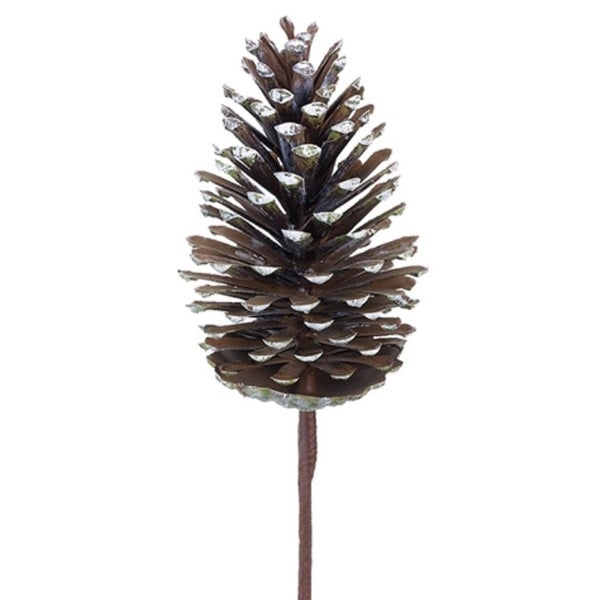 "15"" Bear Brown and Winter White Decorative Artificial Pine Cone Pick"