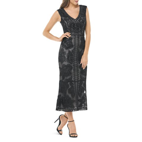 JS Collections Womens Maxi Dress Beaded V-Neck - Black