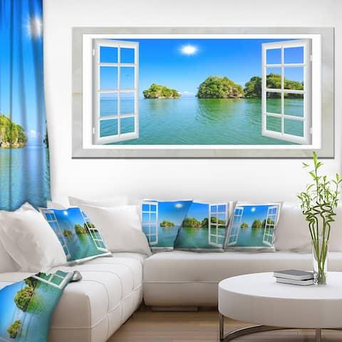 Designart 'Open Window to Ocean Islets' Oversized Landscape Wall Art Print
