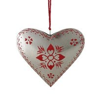 """6"""" Alpine Chic Country Rustic Style Silver and Red Floral Heart Christmas Ornament"""
