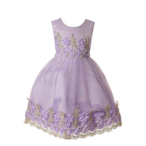 Rain Kids Baby Girls Lilac Floral Applique Flower Girl Dress