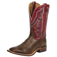"Tony Lama Western Boots Mens Dylan Sq Toe 11"" Shaft Red Victory"