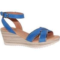 Dromedaris Women's Lucy Quarter Strap Sandal Cobalt Waxed Leather
