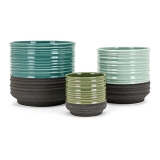 """Set of 3 Vibrantly Colored Glossy Finish Tabletop Flower Pots 8.5"""" - Blue"""
